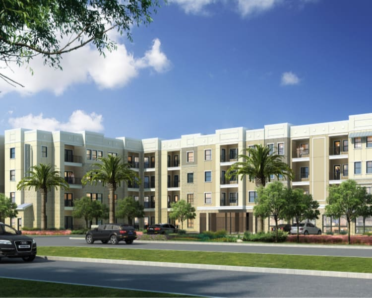 Rendering of building exterior at The Abbey at Sonterra in San Antonio, Texas