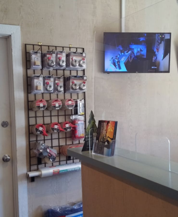 Interior of the leasing office with packing supplies for sale at StorQuest Self Storage in San Rafael, California