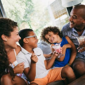 A family enjoying ice cream near Regency Pointe in Forestville, Maryland