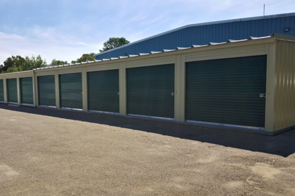 A row of storage units at 603 Storage - Candia in Candia, New Hampshire