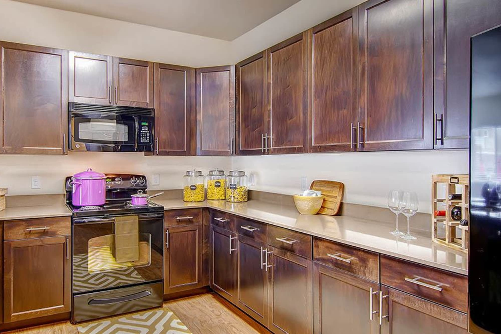 A beautiful kitchen at M2 Apartments in Denver, Colorado