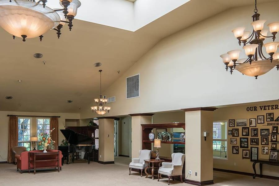Spacious and extravagant lobby interior at Carmel Village in Fountain Valley, California