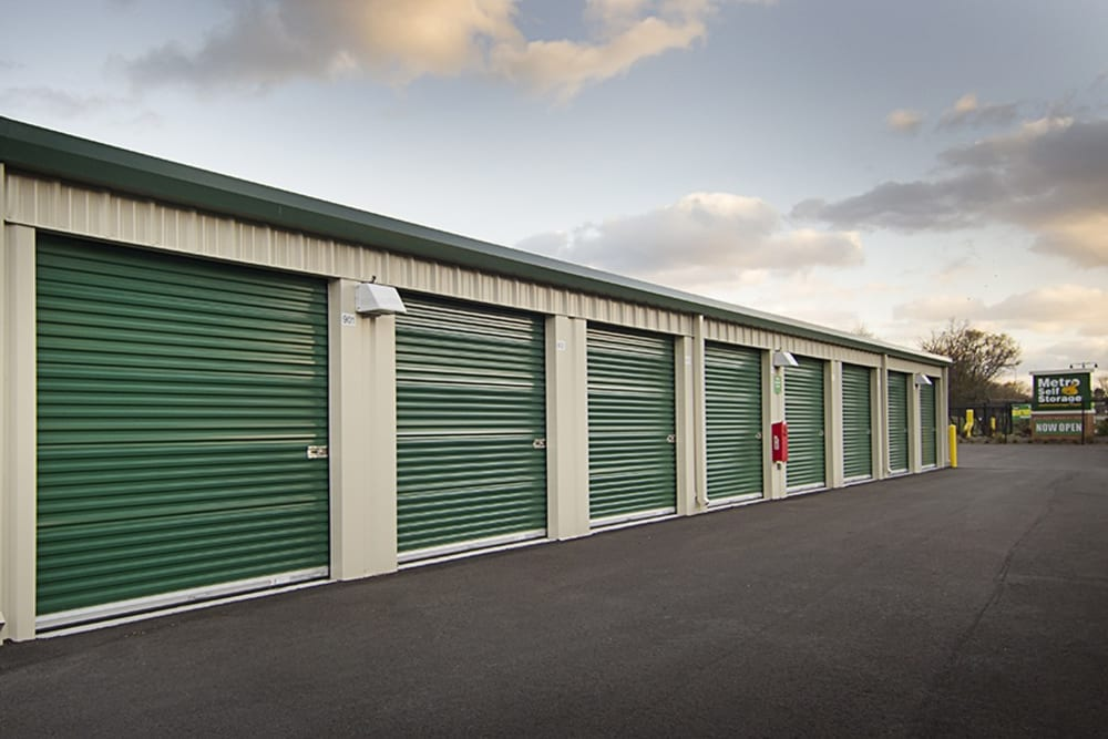 Metro Self Storage Exterior Storage With Green Doors
