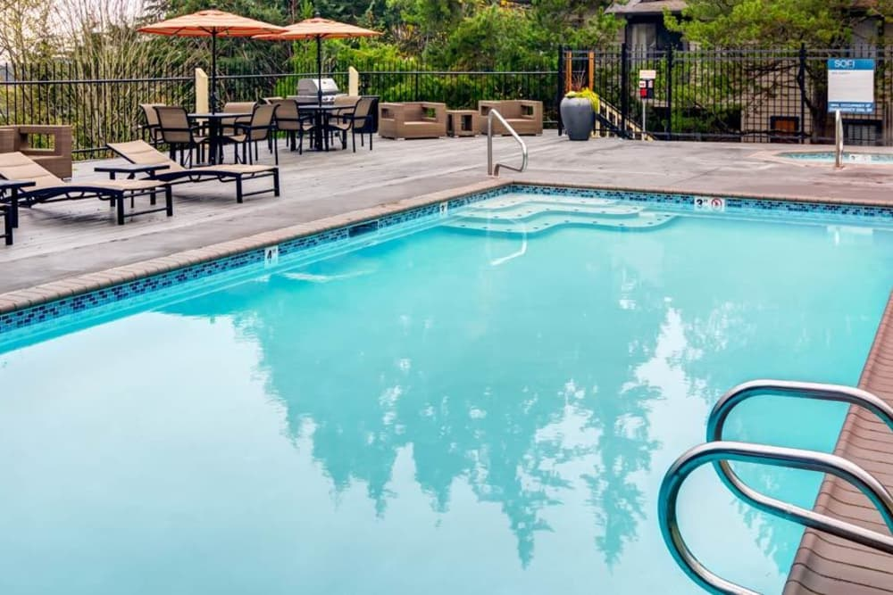 Beautiful swimming pool at Sofi at Somerset in Bellevue, WA
