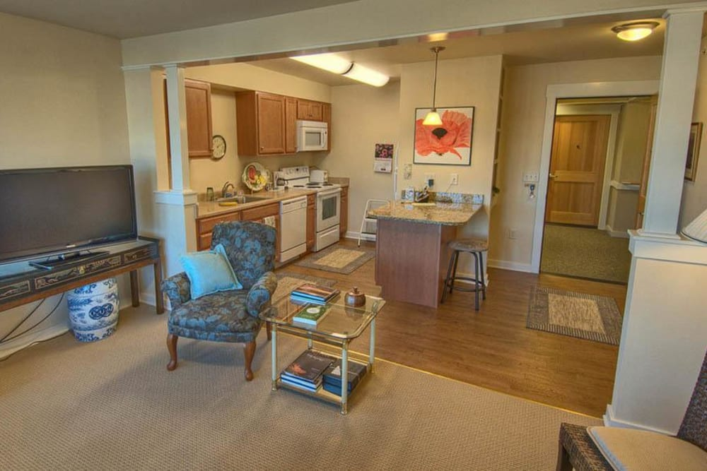 Apartment interior At Chandler's Square Retirement Community in Anacortes.