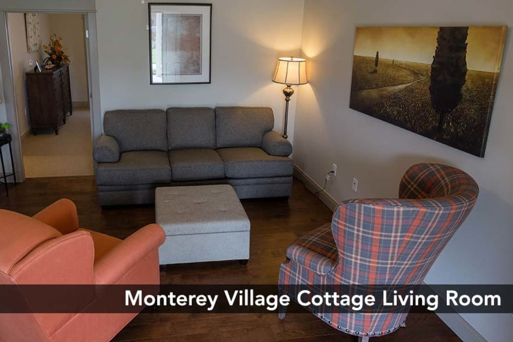 Comfortable living room great for entertaining guests at Monterey Village Senior Living in Lawrence, Kansas
