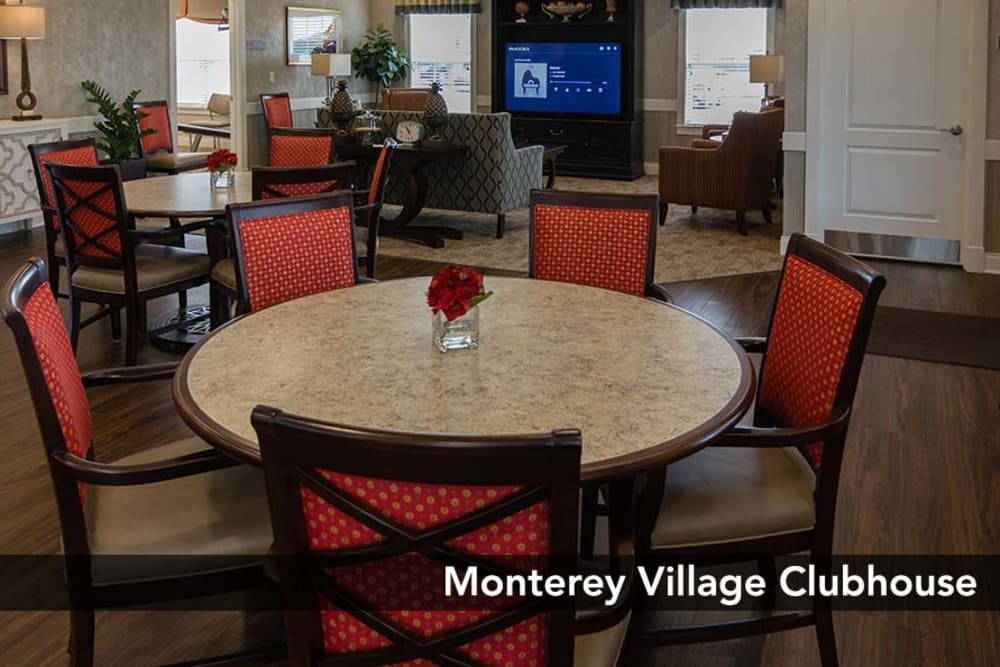 Enjoy the Dining area in our Clubhouse at Monterey Village Senior Living in Lawrence, Kansas