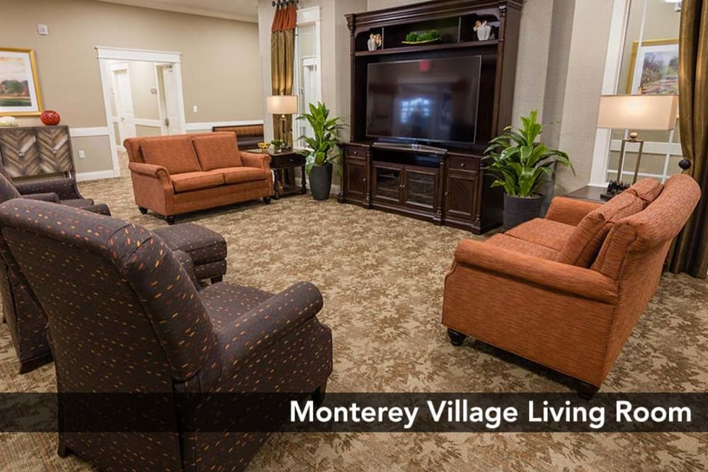 Well decorated and spacious Living room at Monterey Village Senior Living in Lawrence, Kansas