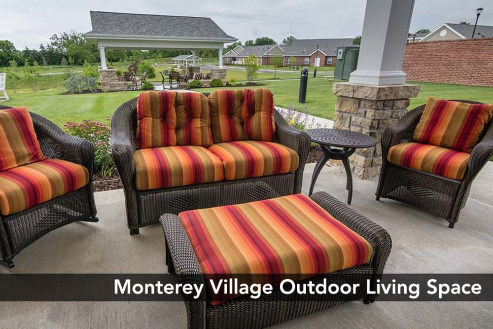 Outdoor sitting area with a view at Monterey Village Senior Living in Lawrence, Kansas