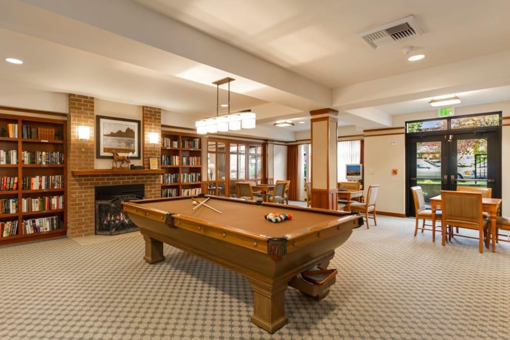 Billiards at Merrill Gardens at The University in Seattle, Washington.