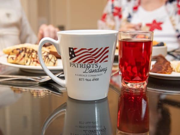 Residents eating breakfast at Patriots Landing in DuPont, Washington.