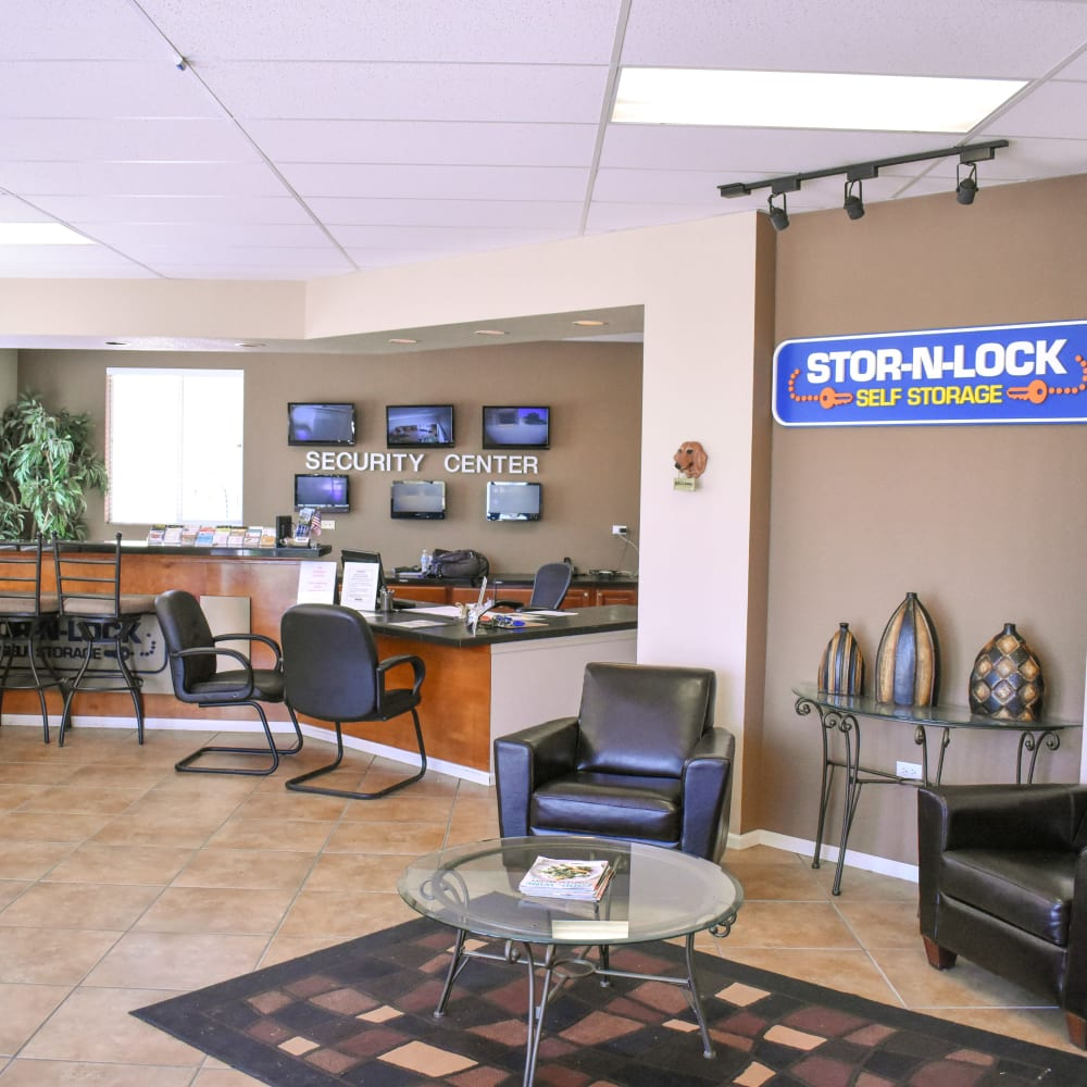 Inside the welcoming office at STOR-N-LOCK Self Storage in Henderson, Colorado