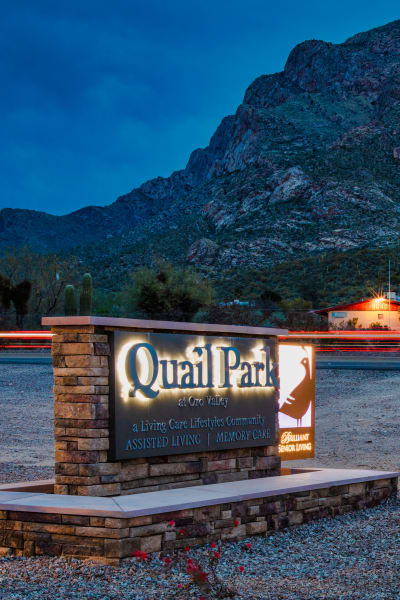 Scenic view of the landscape surrounding Quail Park of Oro Valley in Oro Valley, Arizona