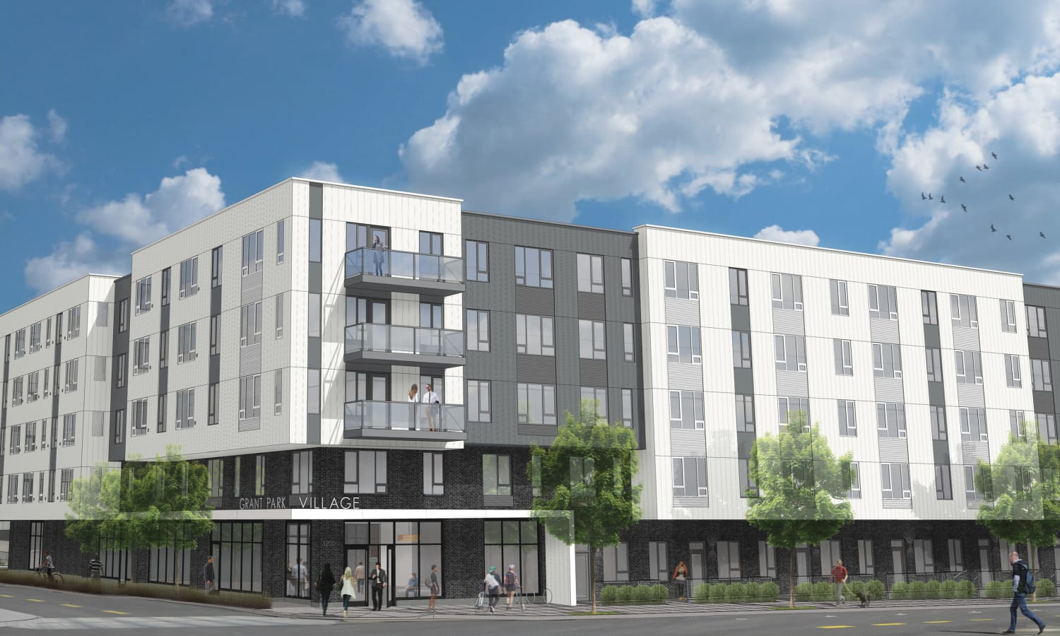 Exterior rendering of street view at Grant Park Village - Quimby from NE 32nd in Portland, OR