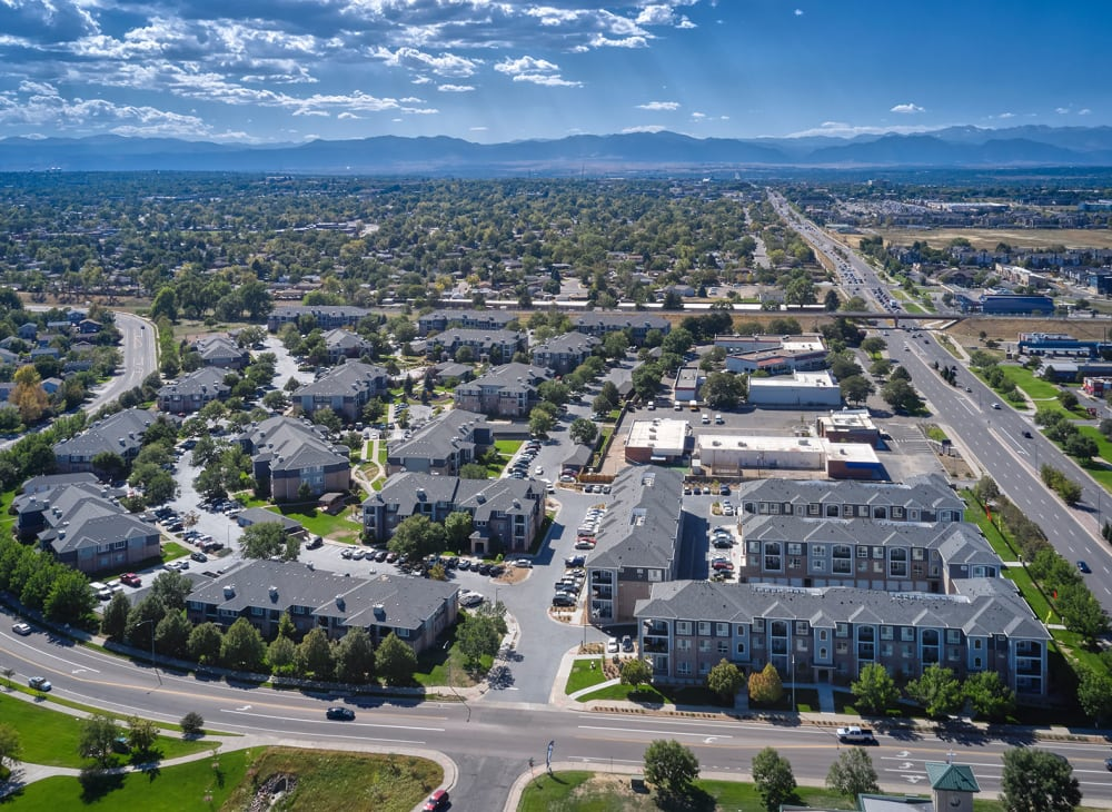 An aerial view of Hawthorne Hill Apartments and the surrounding area of Thornton, Colorado