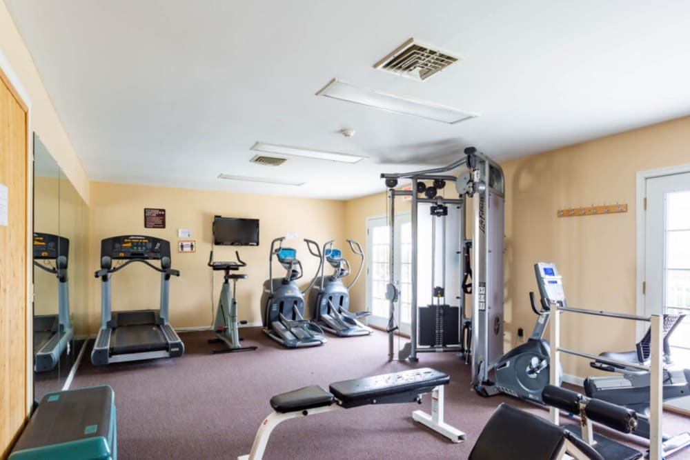 Treadmills in fitness center at Bennington Hills Apartments in West Henrietta, New York