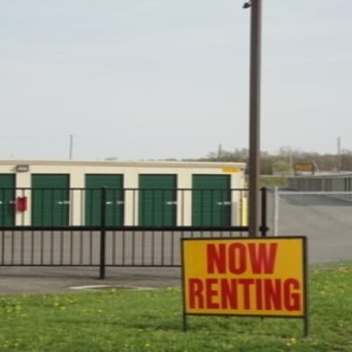 A now renting sign in front of Etna Storage in Pataskala, Ohio