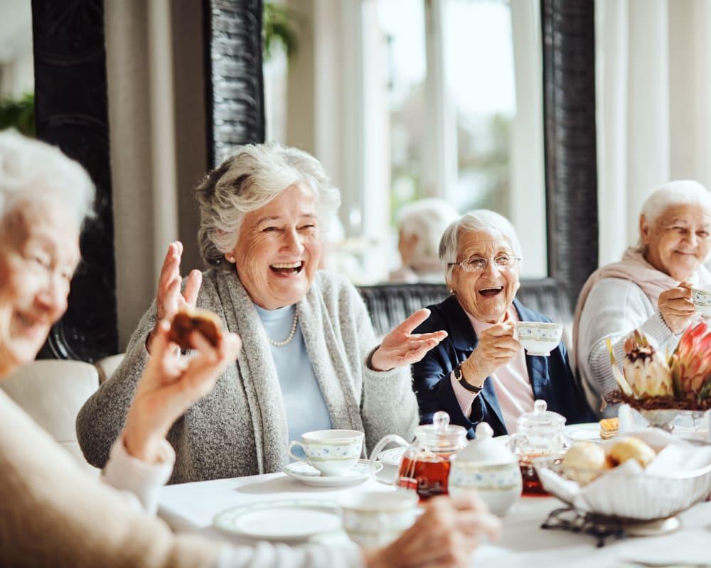 Residents enjoying tea in dining room at Carolina Assisted Living in Appleton, Wisconsin.