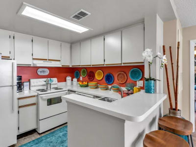 An apartment kitchen at The Braxton in Palm Bay, Florida