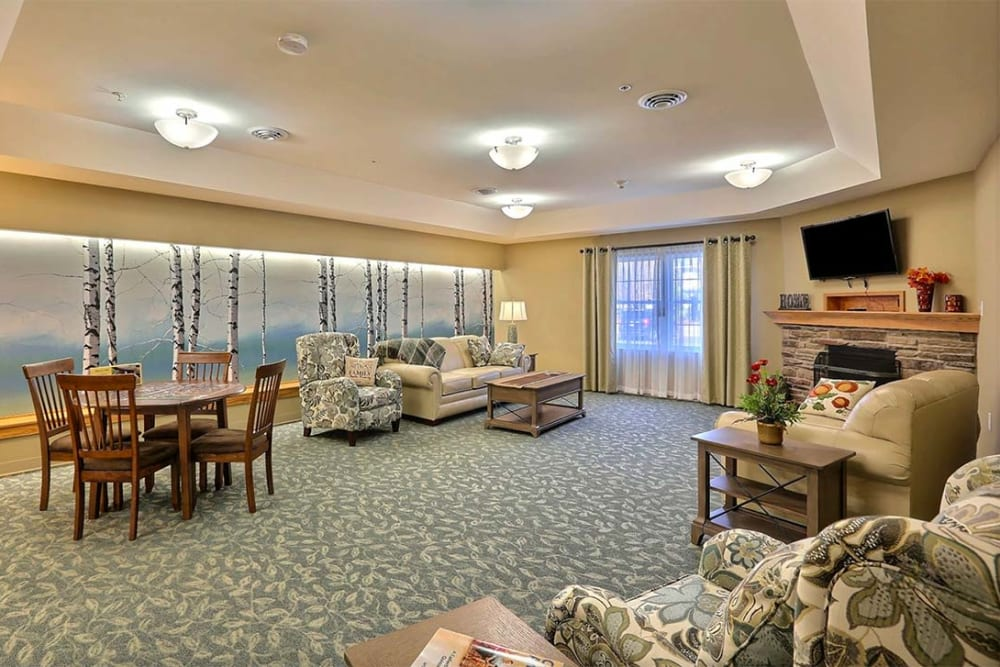 Resident seating and activity area at Milestone Senior Living in Tomahawk, Wisconsin.