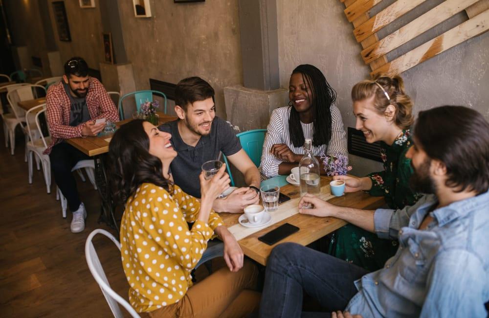 Residents enjoying a bite to eat near The Retreat at Sherwood in Sherwood, Arkansas