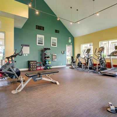 Well-equipped onsite fitness center at Sofi Sunnyvale in Sunnyvale, California