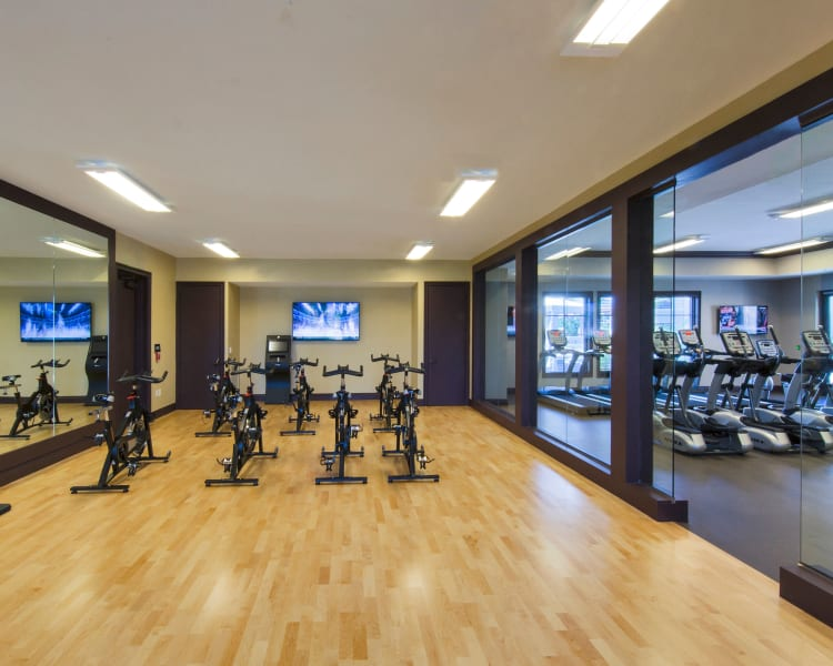 Spin class room in the fitness center at Doral Station in Miami, Florida