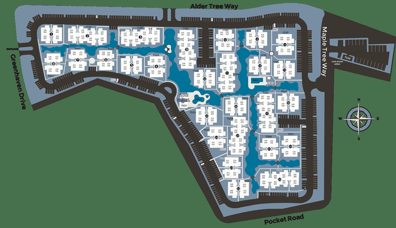 Community site map for Hidden Lake Condominium Rentals in Sacramento, California
