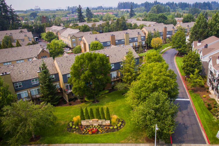Aerial view of The Colonnade Luxury Townhome Rentals' community in Hillsboro, Oregon