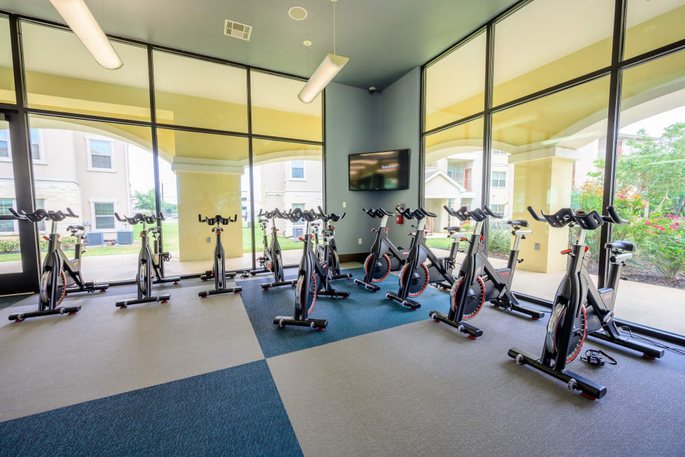 Spacious and well-equipped fitness center at Pecan Springs Apartments in San Antonio, Texas
