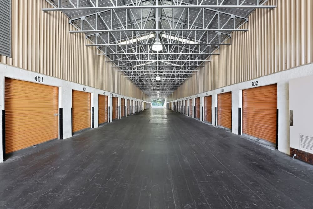 Rows of covered storage units with lots of space at A-1 Self Storage in San Diego, California
