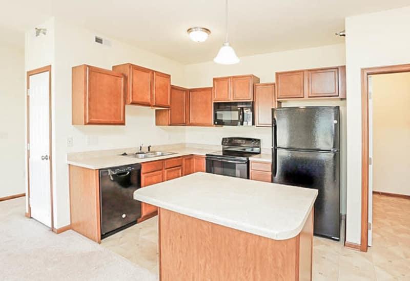 Kitchen layout at Johnston Heights in Johnston, Iowa