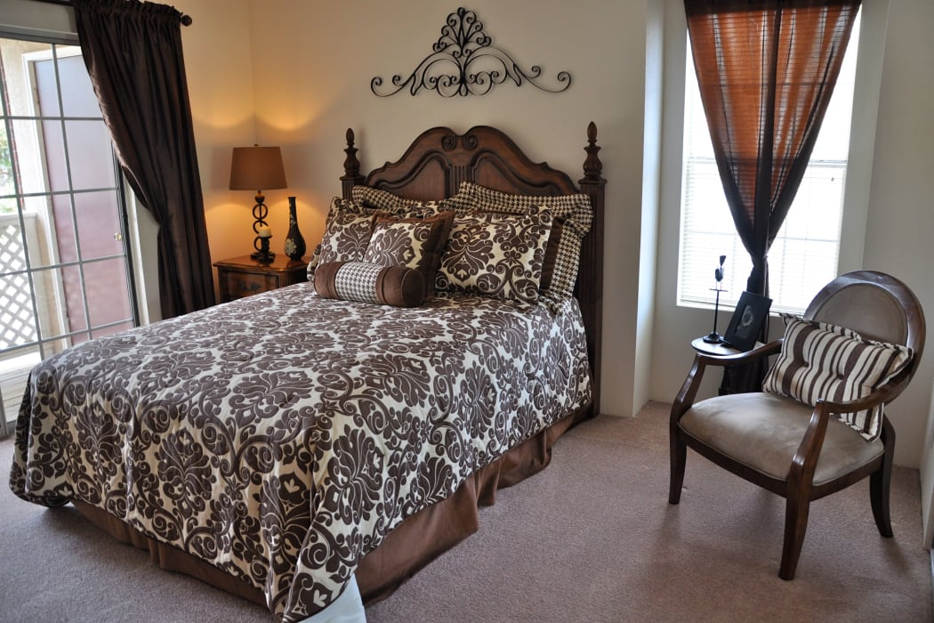 Beautiful bedroom at The Crest Apartments in El Paso, Texas