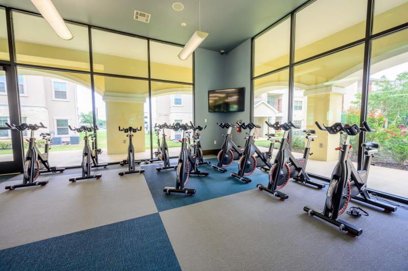 Fitness center at Pecan Springs Apartments in San Antonio, Texas