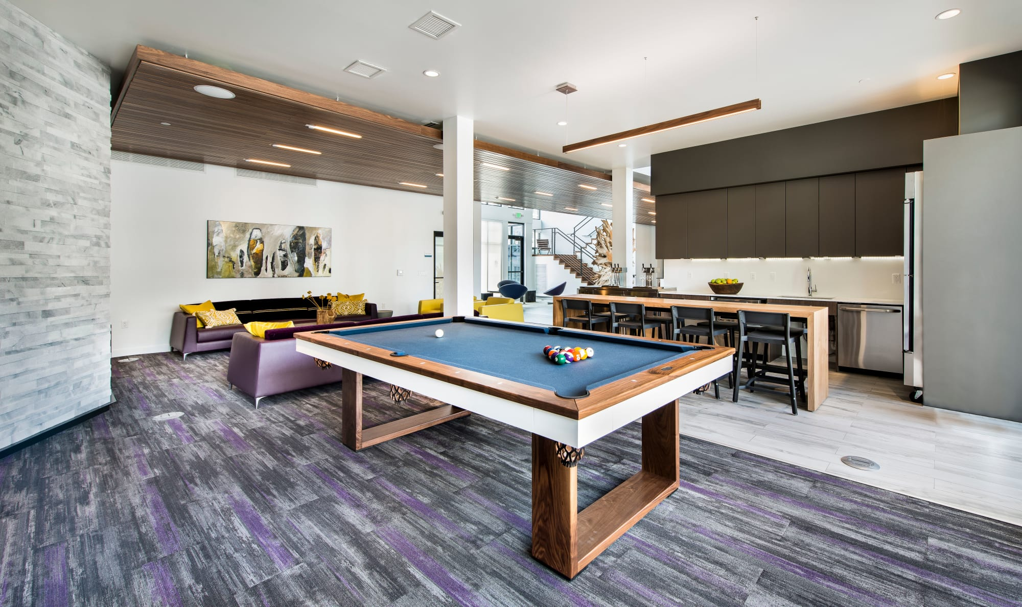 Clubhouse and game room, pool table at Elevate in Englewood, Colorado