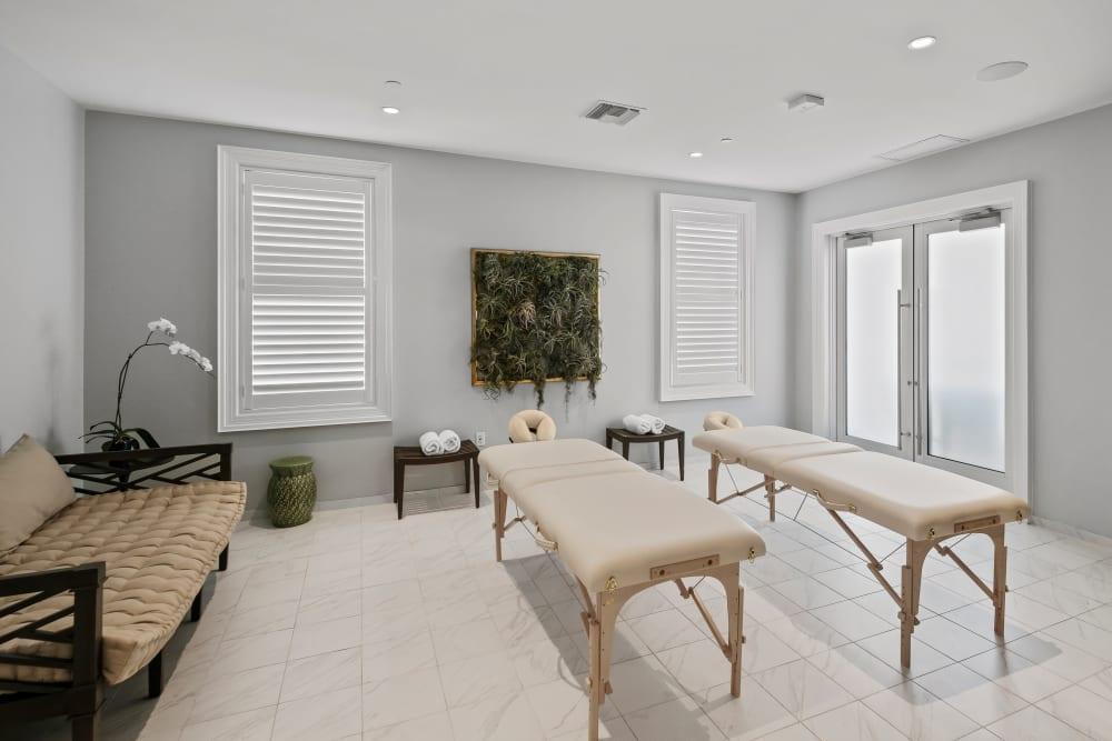 Massage tables in the spa at Town Lantana in Lantana, Florida