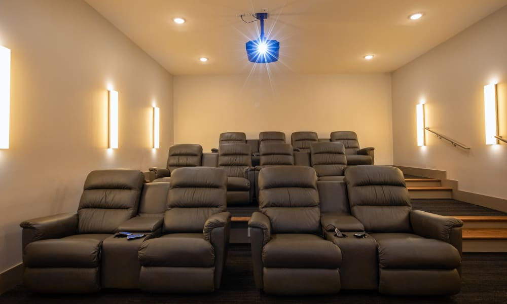 Large onsite movie theater at Luxor Club in Jacksonville, Florida