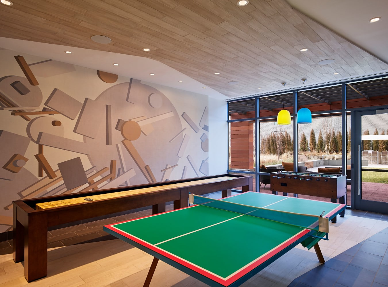 Cubhouse with a ping pong table at Solaire 8250 Georgia in Silver Spring, Maryland