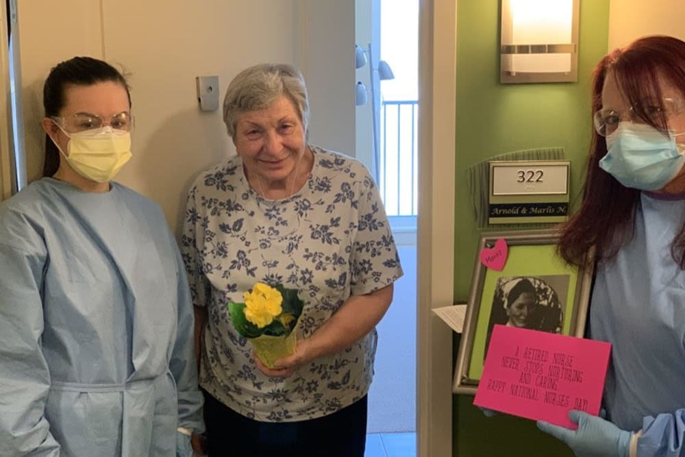 Resident celebrating Mother's Day at Azpira Place of Lake Zurich in Lake Zurich, Illinois