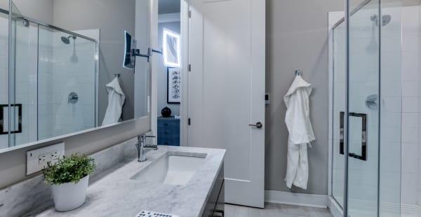 Luxury bathroom at The Barton in Clayton, Missouri