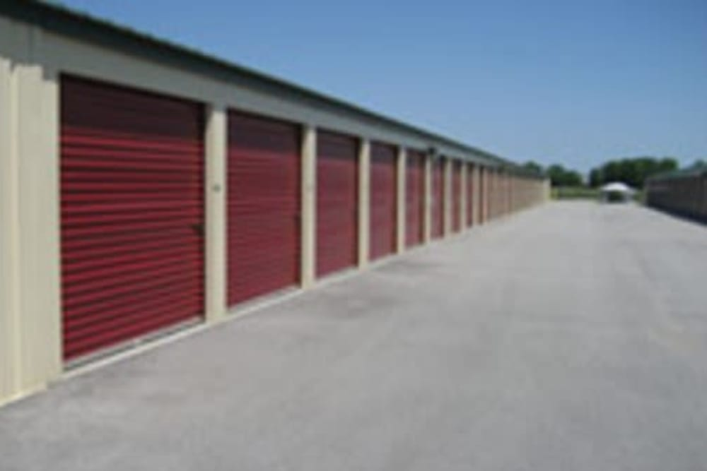 Roll-up doors on self storage units at StayLock Storage in Auburn, Indiana