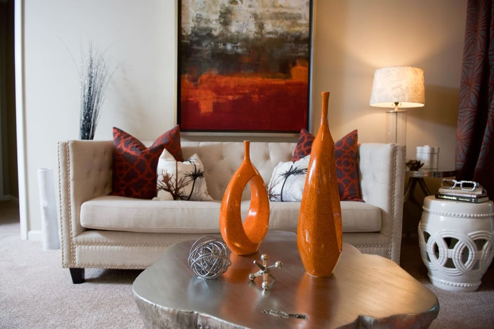 Beautiful living room at Manor Six Forks in Raleigh, North Carolina