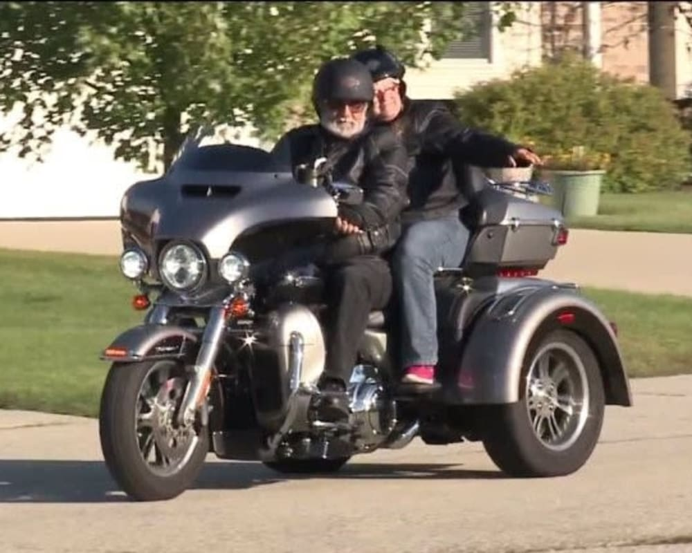 Resident Connie rides a Harley for her dare to dream event at Arbor View in Burlington, Wisconsin.