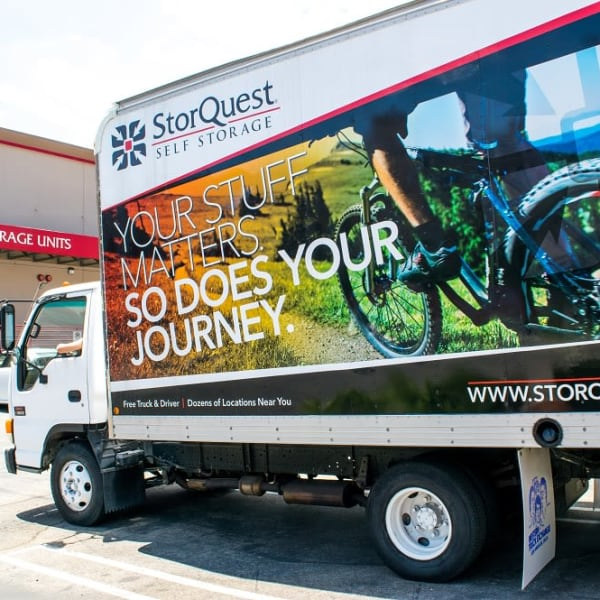 A moving truck available at StorQuest Self Storage in Williston, North Dakota