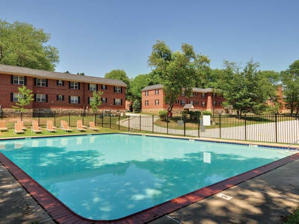 Swimming pool at The Villas at Bryn Mawr Apartment Homes in Bryn Mawr, Pennsylvania