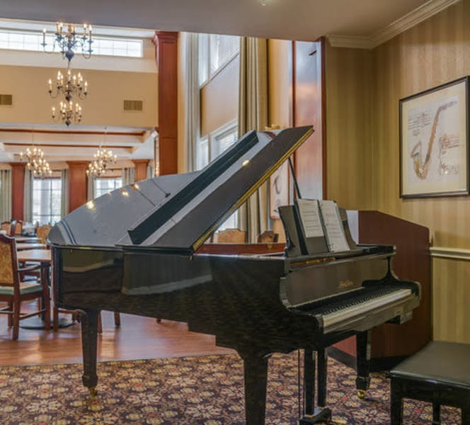 A piano in the lobby at Town Village in Oklahoma City, Oklahoma