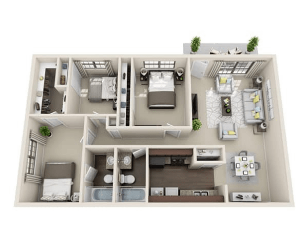 Jewel floor plan at Villages at Parktown Apartments