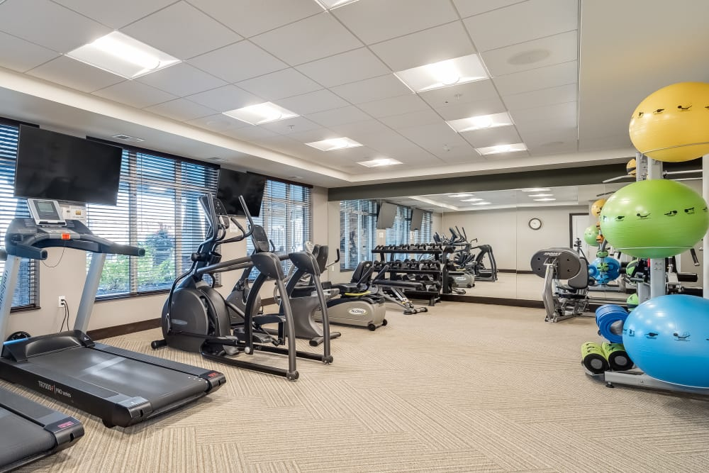 A fitness center at Applewood Pointe of Maple Grove at Arbor Lakes in Maple Grove, Minnesota.