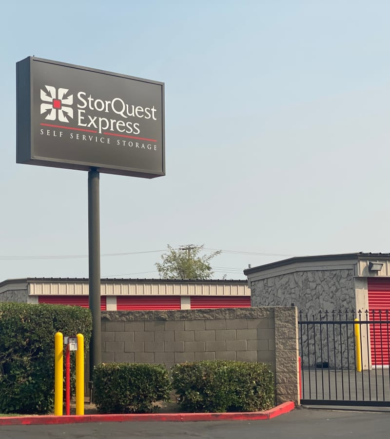 The exterior of the main entrance at StorQuest Express - Self Service Storage in Sacramento, California