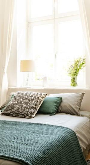 Cozy bedroom at Griswold Gardens in Glastonbury, lsn